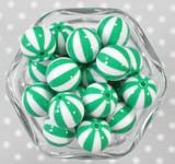 20mm Green Pinwheel stripe bubblegum beads