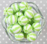 20mm Lime Pinwheel stripe bubblegum beads