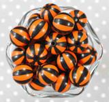 20mm Orange and black Pinwheel stripe bubblegum beads