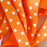 "7/8"" Orange with white polka dots printed grosgrain ribbon by the yard"