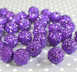 20mm Grape rhinestone bubblegum beads