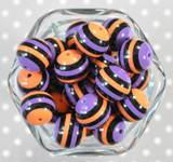 20mm Orange and Purple  striped bubblegum beads
