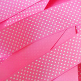 "1.5"" Hot pink with white swiss dots printed grosgrain ribbon"