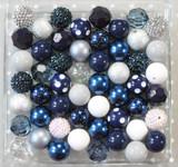 Navy Grey and Silver metallic bubblegum bead wholesale kit