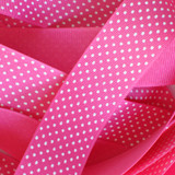 "1.5"" Shocking pink with white swiss dots printed grosgrain ribbon"