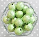 20mm Light green stardust metallic bubblegum beads