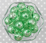 20mm Green Bead in a Bead foil bubblegum beads