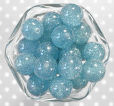 20mm Denim blue glitter jelly bubblegum beads