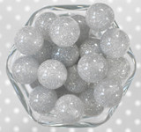 20mm Grey glitter jelly bubblegum beads
