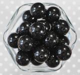 20mm Jet black glitter jelly bubblegum beads
