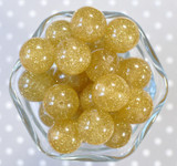 20mm Pale gold glitter jelly bubblegum beads