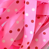 "7/8"" Hot pink with red and light pink polka dots printed grosgrain ribbon"
