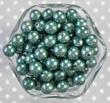 12mm Teal green pearl bubblegum beads