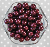12mm Beet red pearl bubblegum beads