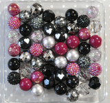 Black Valentine bubblegum bead wholesale kit