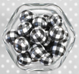 20mm Black gingham printed bubblegum beads