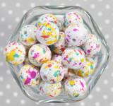 20mm Spring Splatter printed bubblegum beads