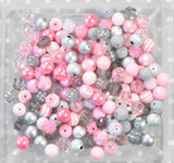 12mm Pink and Silver bubblegum bead mix