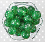 20mm Emerald glitter jelly bubblegum beads