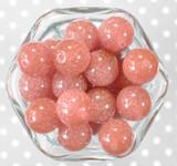 20mm Dusty Rose glitter jelly bubblegum beads