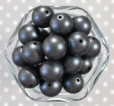 20mm Dark Grey matte pearl bubblegum beads