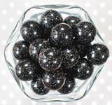 20mm Black glitter pearl bubblegum beads