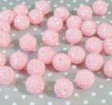 20mm Warm light pink AB rhinestone bubblegum beads