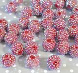20mm Cranberry AB rhinestone bubblegum beads