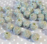20mm Olive AB rhinestone bubblegum beads