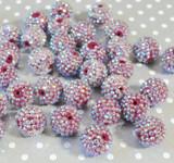 20mm Currant AB rhinestone bubblegum beads