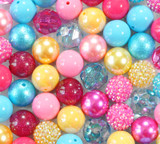Blue hot pink yellow bubblegum bead wholesale kit