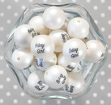 20mm Bday Girl printed bubblegum beads