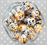 20mm Halloween Splatter printed bubblegum beads