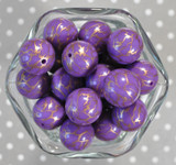 Whole Bag 20mm Purple with gold lightning bubblegum beads