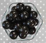 Whole Bag 20mm Black with gold arrow bubblegum beads