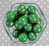 Whole Bag 20mm Emerald with gold lightning bubblegum beads