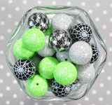 Whole Bag 20mm Assorted Spider Web and other print bubblegum beads