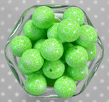 Whole Bag 20mm Green Spider Web print bubblegum beads