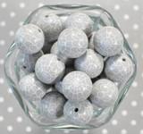 Whole Bag 20mm Grey Spider Web print bubblegum beads