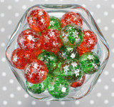 Whole Bag 20mm Disco snowflake red and green bubblegum beads