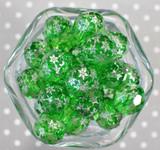 Whole Bag 20mm Green facet snowflake bubblegum beads