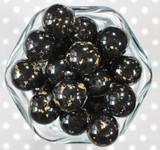 20mm Black gold flake bubblegum beads