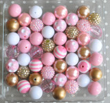 Pink and gold bubblegum bead wholesale kit