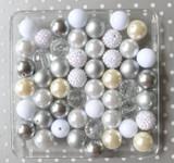 White and silver bubblegum bead wholesale kit