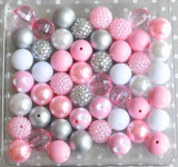 Pink and silver chunky bubblegum bead wholesale kit