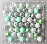 Mint and silver chunky bubblegum bead wholesale kit
