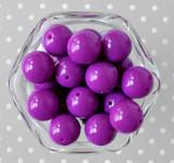 20mm Bright purple solid bubblegum beads