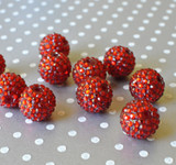 20mm Red rhinestone chunky bubblegum beads