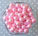 12mm Pink pearl bubblegum beads for chunky necklaces