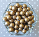 12mm Matte gold pearl bubblegum beads for chunky necklaces